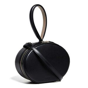 NWT CAFUNE Black Leather Egg Bag With Xbody Strap